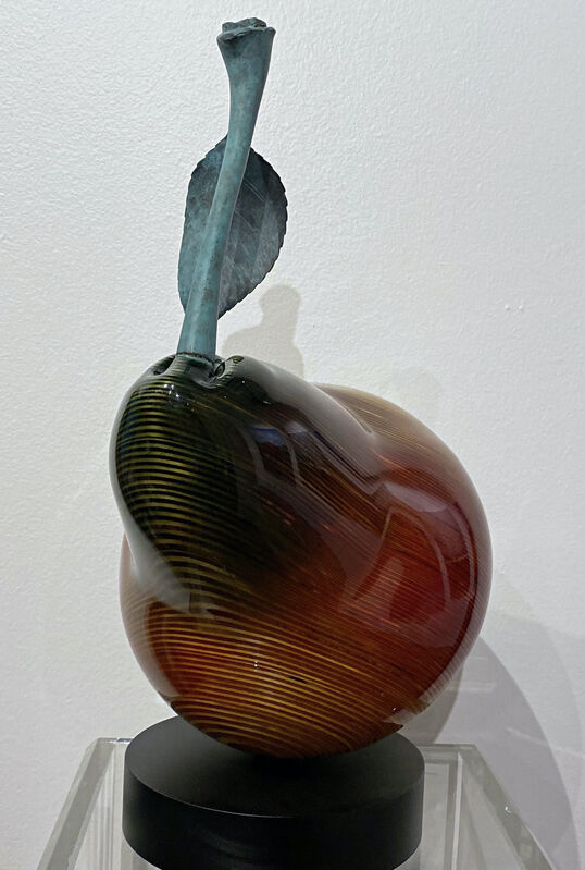 Serhiy Chepel, 'Pear Red Bartlett ', 2021, Sculpture, Hand-carved birch wood and cast-brass., Off The Wall Gallery
