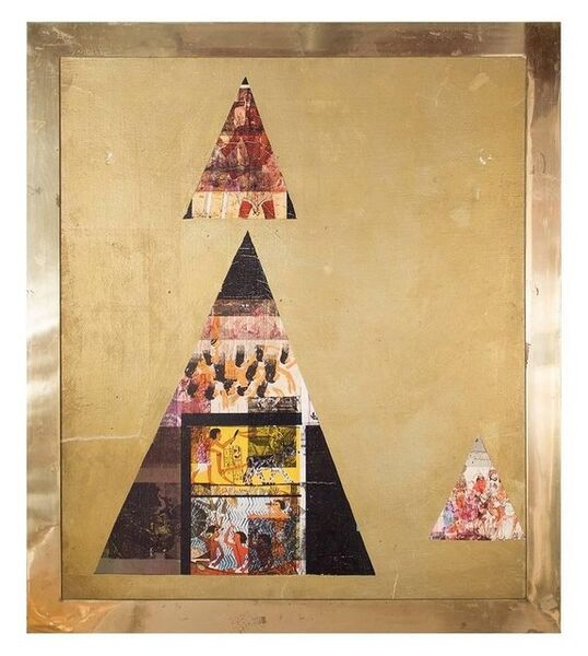 Ezio Gribaudo, 'Sennedem, Abstract Italian Modernist Oil Painting in Brass Frame', 1970-1979