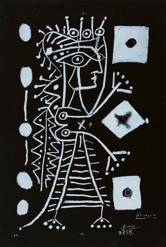 Pablo Picasso, 'Jacqueline (La Femme aux Des)', 1958, Print, Lithograph on black vellum, Van Ham