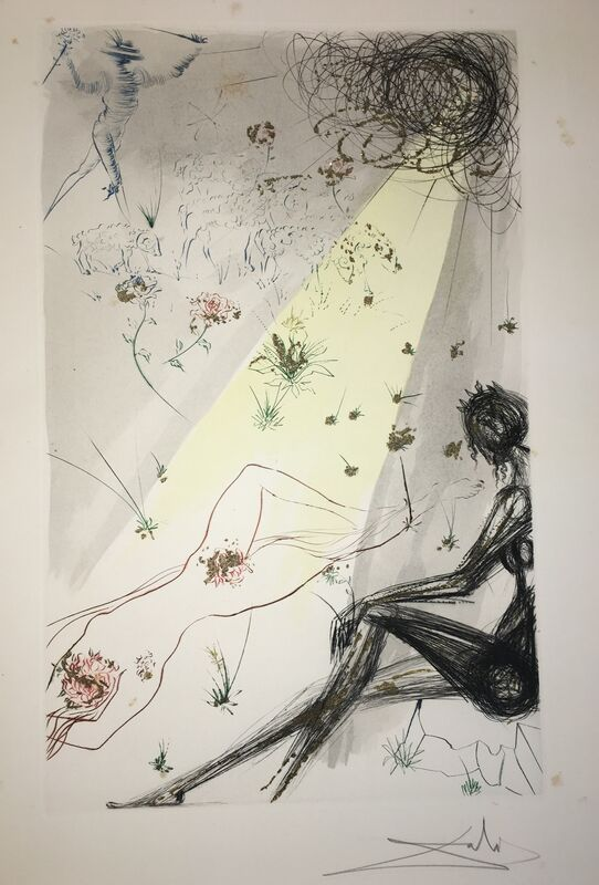 Salvador Dalí, 'Look Not Upon Me That I Am Black', 1971, Drawing, Collage or other Work on Paper, Original etching + Color + Gold dust, Dali Paris