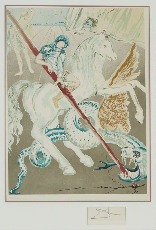 Salvador Dalí, 'The Lance Of Chivalry (St. George) (From Retrospective)', 1978, Print, Colour lithograph from an original gouache on Arches watermarked paper for Martin Lawrence, Waddington's