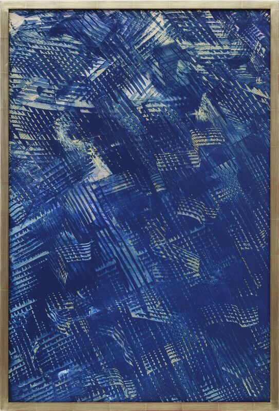 Julia Dault, 'El Dorado', 2013, Painting, Cotton, spandex, polyester, costume pleather, acrylic on vinyl in goldleafed wooden frame, Galerie Bob van Orsouw