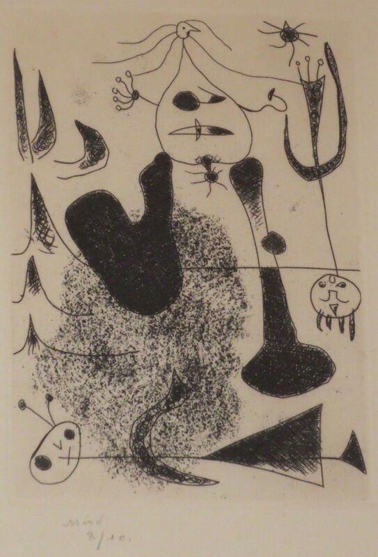 Joan Miró, 'Sablier couche', 1938, Print, Etching, printed in black on laid paper, Isselbacher Gallery