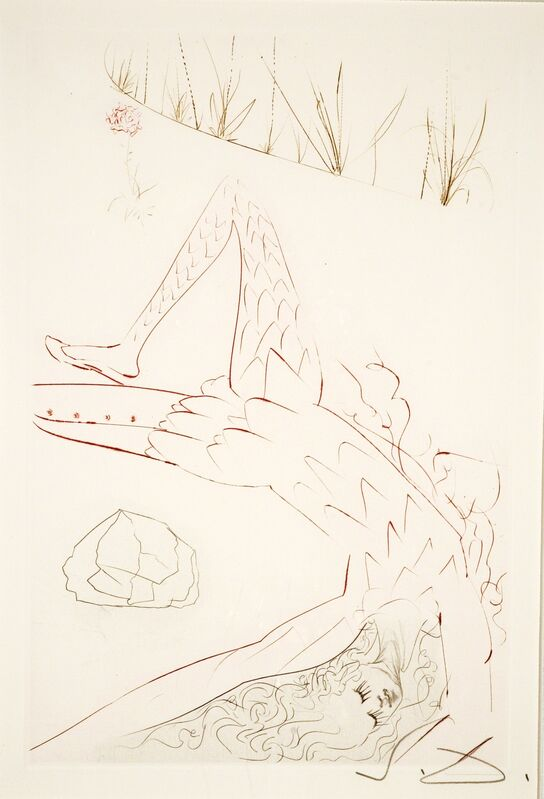 Salvador Dalí, 'Tristan Wounded (Tristan and Iseult, Plate F)', 1970, Print, Hand-initialed drypoint, Martin Lawrence Galleries