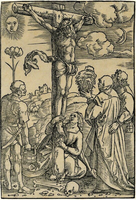 Hans Baldung, 'Christ on the Cross with the Virgin and SS. Longinus, Mary Magdalen, and John', ca. 1505, Print, Woodcut, August Laube Buch & Kunstantiquariat