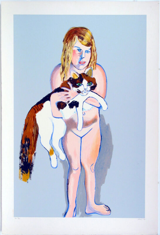 Alice Neel, 'Victoria and The Cat', 1981, Print, Lithograph and silkscreen, Sragow Gallery