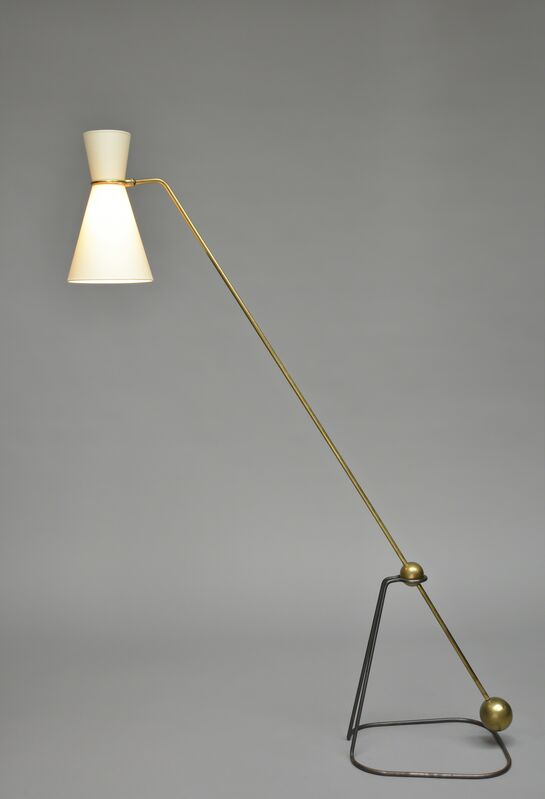 Pierre Guariche, 'Floor lamp G2', 1950, Design/Decorative Art, Black lacquered metal, polish brass and fabric lampshade, Galerie Pascal Cuisinier