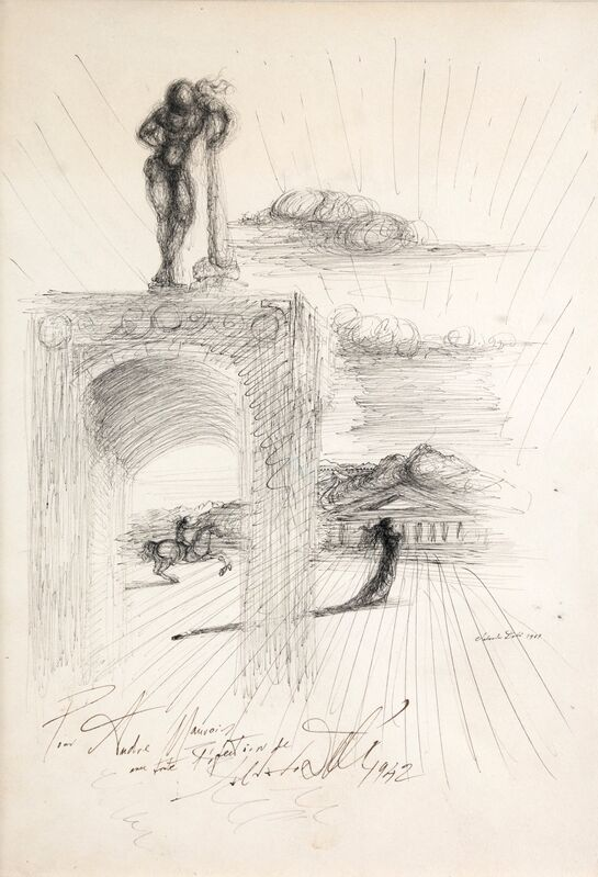 Salvador Dalí, 'Etude à l'architecture, chevalier et personnages', 1939, Drawing, Collage or other Work on Paper, India ink on paper, Omer Tiroche Gallery