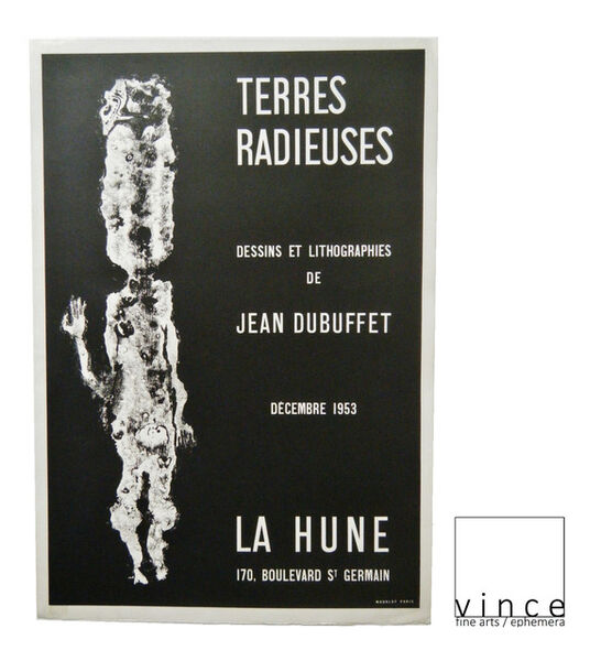 "Jean Dubuffet, '""TERRES RADIEUSES"", 1953, Exhibition Poster,  La Hune Gallery Paris, RARE', 1953"