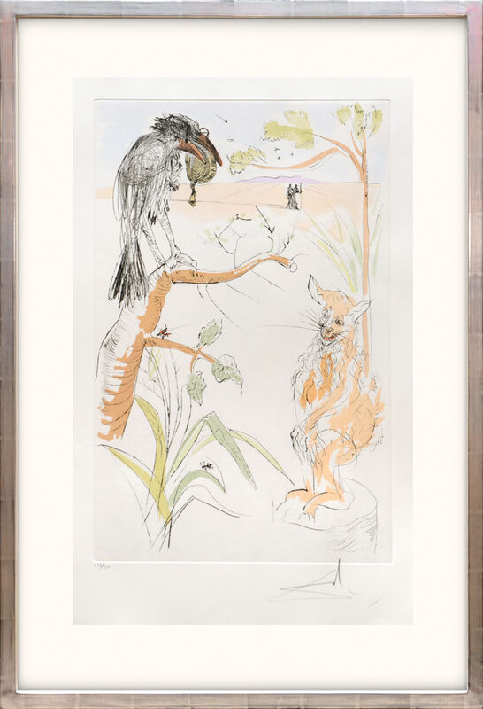 Salvador Dalí, 'Le Corbeau et le Renard. (The Raven and the Fox.)', 1974, Print, Drypoint etching on Arches paper with hand colouring by pochoir, Peter Harrington Gallery