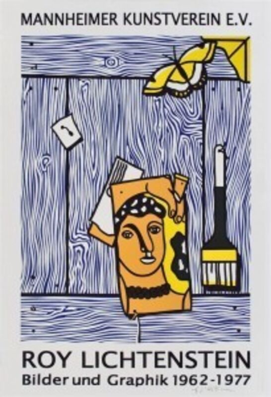 Roy Lichtenstein, 'Trompe L'oeil with Léger Head and Paintbrush', 1977, Print, Offset lithograph poster, artrepublic