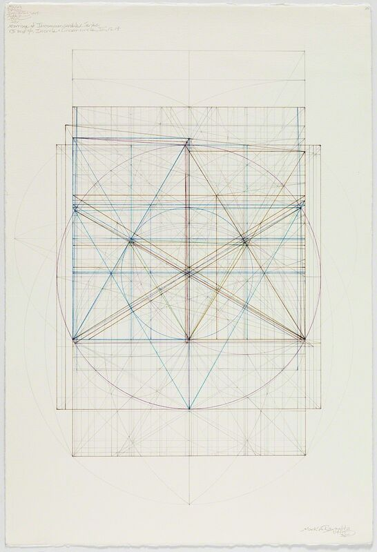 Mark Reynolds, 'Marriage of Incommensurables Series: Root Three and Phi, Incircle and Circumcircle, III, 1.4.15', 2015, Drawing, Collage or other Work on Paper, Graphite and colored inks on cotton paper, Pierogi