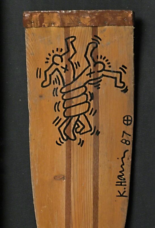 Keith Haring, 'Two Works of Art: Keith Haring, Untitled', Mixed Media, Marker on wooden boat paddle, marker on paper, Rago/Wright