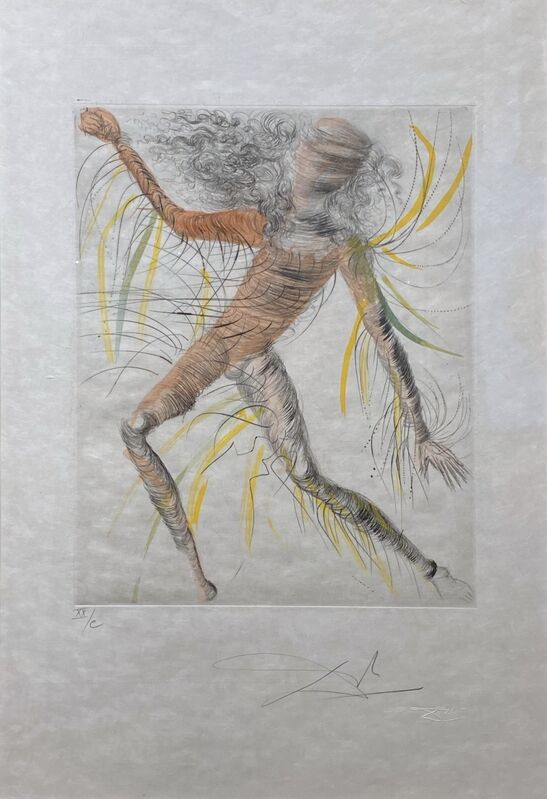 Salvador Dalí, 'The Cosmonaut - Le Cosmonaute ', 1969 -1970 , Print, Original drypoint etching with hand-coloring on Japanese paper., Off The Wall Gallery