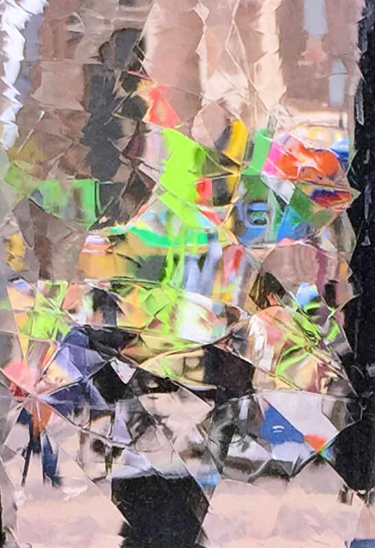 """Larry Garmezy, 'Carnival in Delft #2 - Abstract cityscape photography, cubist, Cityscape, Geometric, Netherlands through antique glass window pane', 2019, Photography, Printed with archival ink on Epson Sommerset Velvet paper. Designed for approximately 18"""" x 24"""" mat and frame. Custom sizes available upon request, Archway Gallery"""