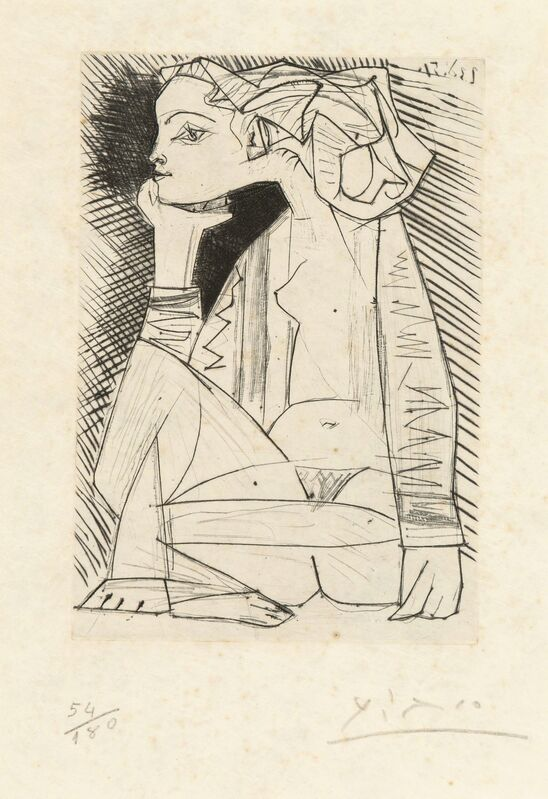 Pablo Picasso, 'Femme assise en tailler: Geneviève Laporte, from Recordant el Doctor Reventós', 1951, Print, Drypoint etching on japan nacré, Heritage Auctions