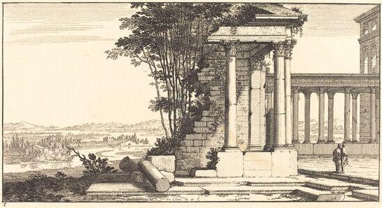 Sébastien Le Clerc I, 'Landscape with Classical Ruins', 1673
