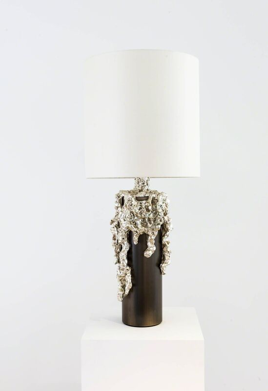 Mattia Bonetti, 'Table Lamp 'Iseo Bronze'', 2016, Design/Decorative Art, Bronze silver plated, patinated brass, silk shade, David Gill Gallery