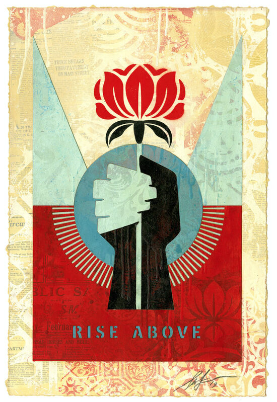 Shepard Fairey, 'Rise Above Flower ', 2019, Painting, Stencil, spray paint and collage on paper., AUTOGRAPHES DES SIECLES