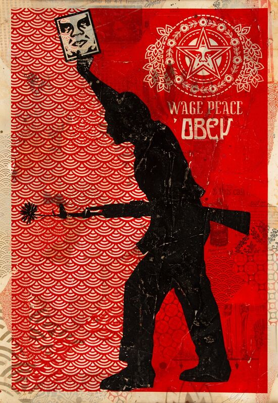 Shepard Fairey, 'Obey '04 (HPM)', 2005, Print, Screenprint in colors and mixed media collage on board, Heritage Auctions