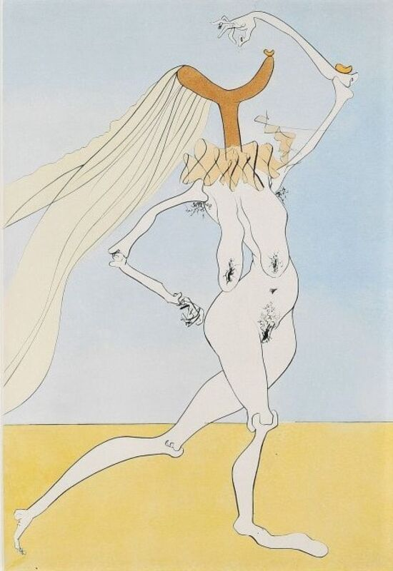 Salvador Dalí, 'Quevedo visonnaire / Quevedos Visioner', 1975, Print, Drypoint with hand coloring on Arches paper, Samhart Gallery