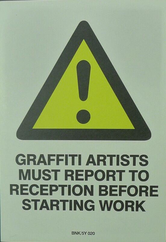 Banksy, 'Graffiti Artists Must Report To Reception Before Starting Work', Ephemera or Merchandise, Color print on sticker, Bengtsson Fine Art