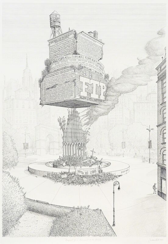 Sandow Birk, 'Proposal for a Monument to the NYPD', 2015, Drawing, Collage or other Work on Paper, Ink on paper, Catharine Clark Gallery