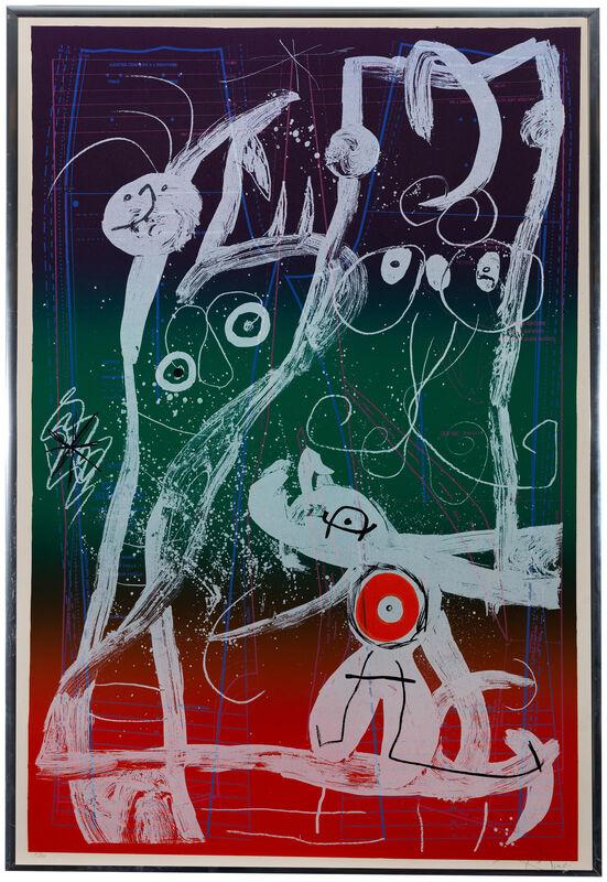 Joan Miró, 'Le Delire Du Couterier - bleu, rouge, vert', 1969, Print, Color lithograph on wove paper under Plexiglas, Editions Maeght, Paris, pub., John Moran Auctioneers