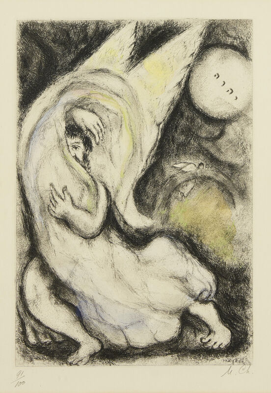 Marc Chagall, 'Promise to Jerusalem, from La Bible [Cramer Book 30]', 1931-39, Print, Etching with hand colouring on wove, Roseberys