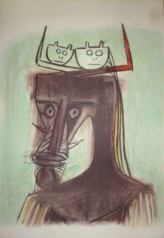 Wifredo Lam, 'Artists of the world against apartheid ', 1982, Print, Lithograph on paper, Le Coin des Arts