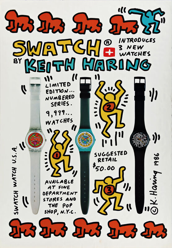 Keith Haring, 'Swatch by Keith Haring (Keith Haring Swatch poster)', 1986, Posters, Offset lithograph, Lot 180