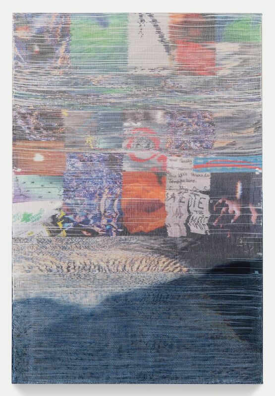 Margo Wolowiec, 'Thursday Temperature', 2019, Textile Arts, Handwoven polymer, linen, dye sublimation ink, indigo dye, Jessica Silverman