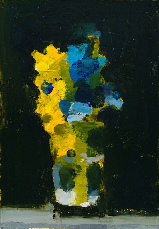 Stanley Bielen, 'Delphinium/Forsythia', 2017, Painting, Oil on paper mounted on board, Somerville Manning Gallery