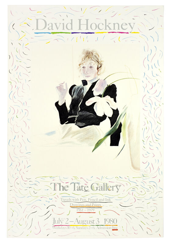 David Hockney, 'Tate Gallery 1980 (Celia in a Black Dress with White Flowers 1972) ', 1980, Posters, Offset lithograph, Petersburg Press