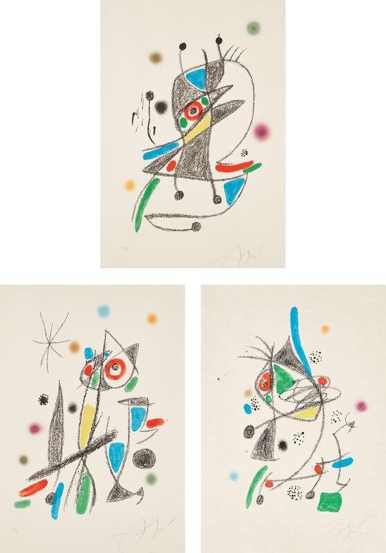 Joan Miró, 'Maravillas con variaciones acrósticas en el jardín de Miró (Wonders with Acrostic Variations in Miró's Garden): plates 2; 4 and 12', 1975, Print, Three lithographs in colors, on Arches and Japan paper, with full margins., Phillips