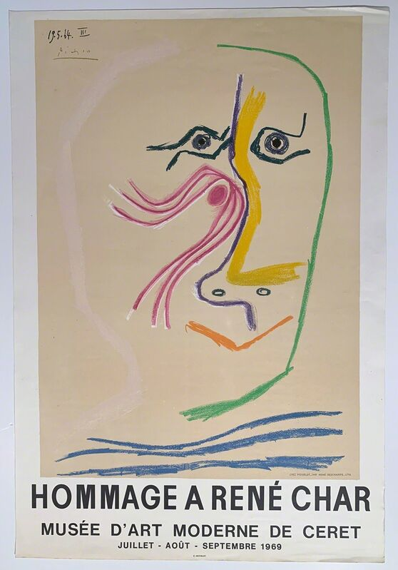 Pablo Picasso, 'PIcasso, Hommage A Rene Char Musee D/Art Moderne de Cheret', 1969, Reproduction, High Quality Lithographic Poster, David Lawrence Gallery