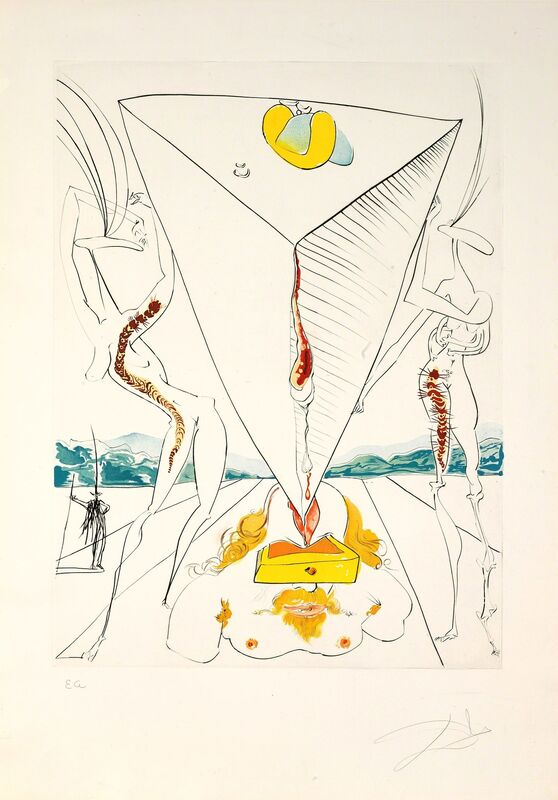Salvador Dalí, 'Philosopher Crushed by the Cosmos (The Conquest of Cosmos)', 1974, Print, Hand-signed drypoint with lithographic color, Martin Lawrence Galleries