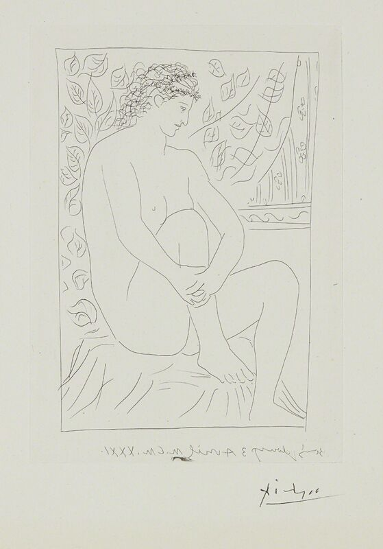 Pablo Picasso, 'Femme nue assise devant un rideau (Nude Woman Sitting in Front of a Curtain), plate 4 from La suite Vollard', 1931, Print, Etching, on Montval paper, with full margins, Phillips