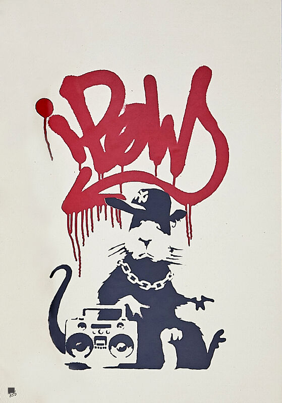 Banksy, 'Gangsta Rat (Red)', 2014, Print, Screenprint in Colours in Wove Paper. Numbered from an edition of 500 in pencil. Issued with a Certificate of Authenticity by Pest Control. Published by Pictures On Walls., HOFA Gallery (House of Fine Art)