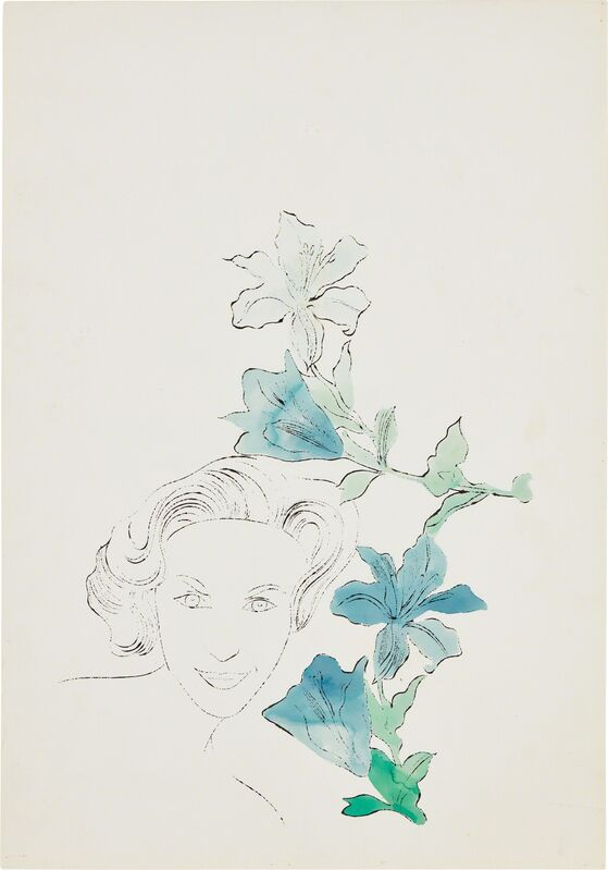 Andy Warhol, 'Female Head (With Blue Flowers)', ca. 1950, Ink and Dr. Martin's Analine dye on Strathmore paper, Phillips