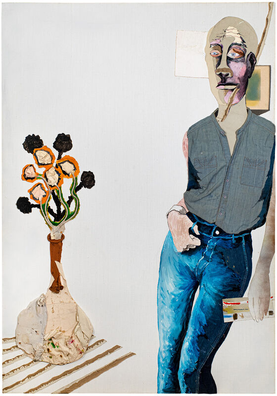Benny Andrews, 'Portrait of Ray Johnson ', 1985, Painting, Oil and graphite on canvas with painted fabric, paper and mixed media collage, Michael Rosenfeld Gallery