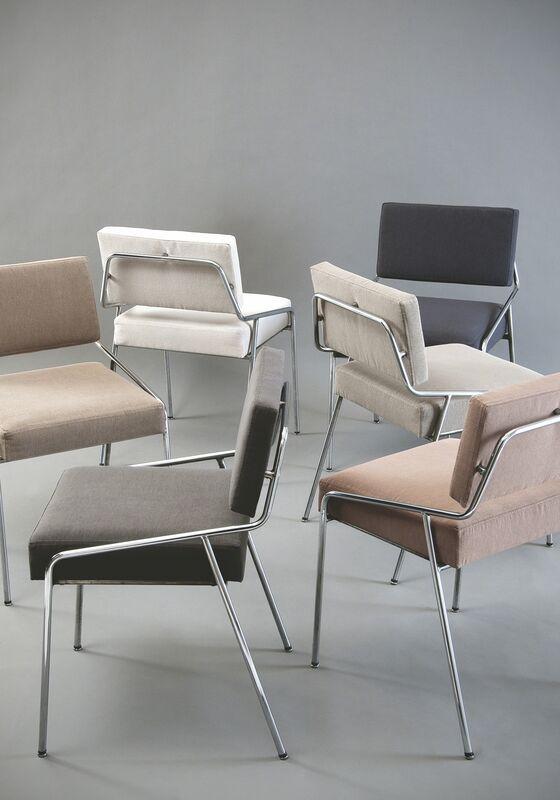 Alain Richard, 'Set of 6 chairs 159 Edition Meubles TV', 1953, Design/Decorative Art, Chromed metal, foam and fabric, Galerie Pascal Cuisinier