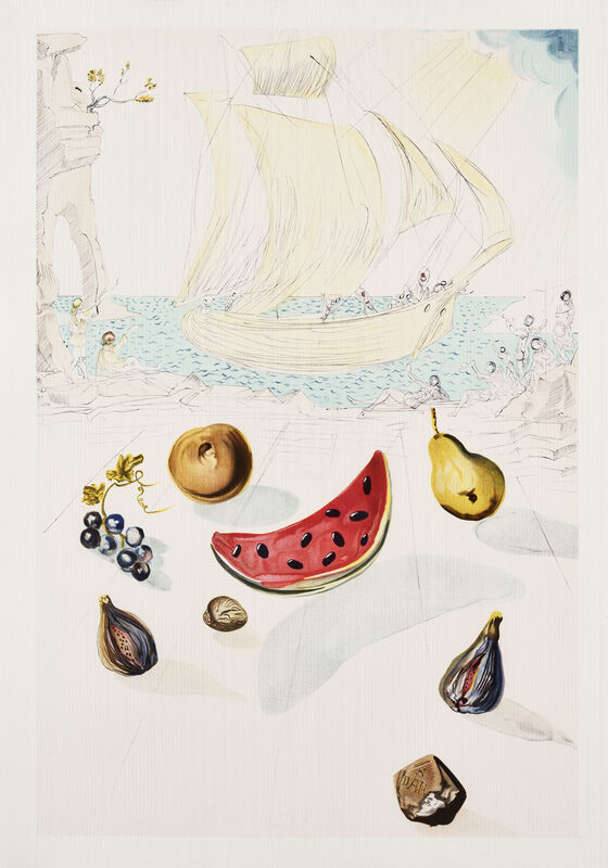 Salvador Dalí, 'Ship And Fruits', 1986, Print, Lithograph in colours on Arches, Tate Ward Auctions