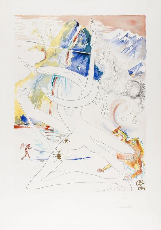 Salvador Dalí, 'L'Unicorne laser désintègre les cornes de rhinocéros cosmiques, (M&L 646a; Field 74-12-H)', 1974, Print, Etching and lithograph printed in colours with embossing, Forum Auctions
