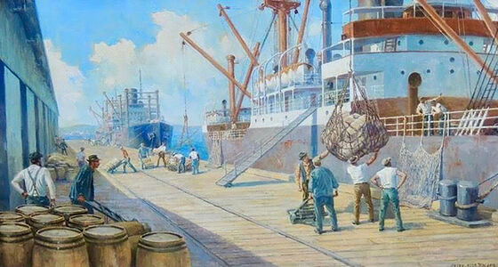 Anton Otto Fischer, 'Dock Workers Unloading Freighter', 20th Century