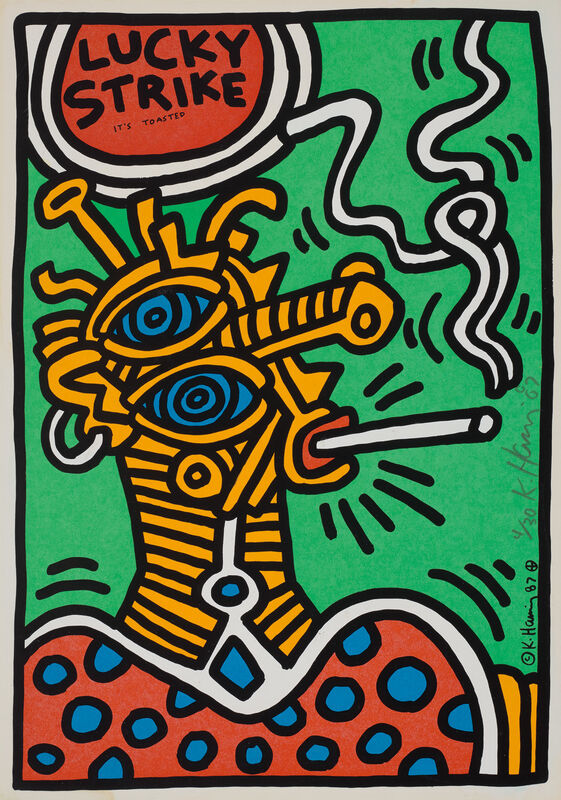 Keith Haring, 'Lucky Strike: one plate', 1987, Print, Screenprint in colours, on wove paper, with full margins., Phillips