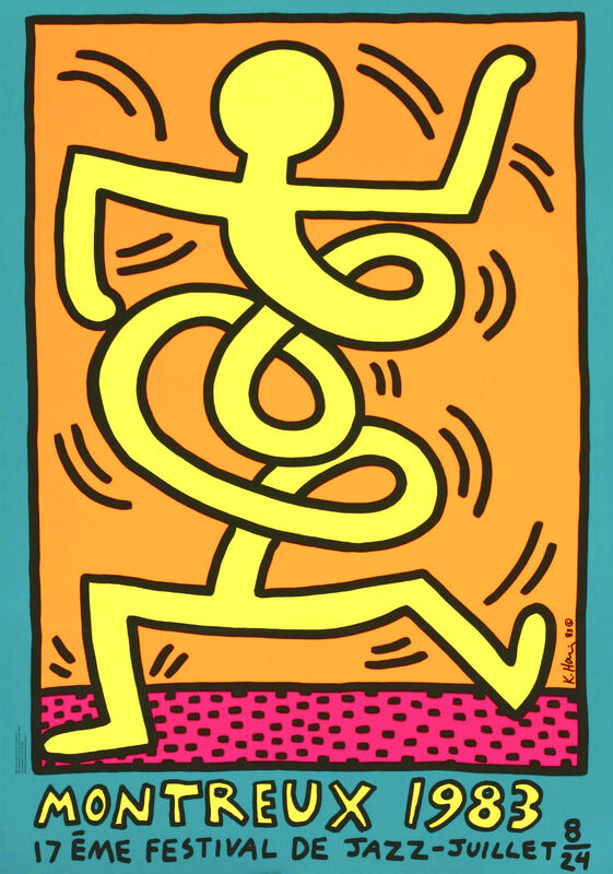 Keith Haring, 'Montreux Jazz Festival, 1983 (Green)', 1983, Print, Lithograph in colours with text, Hang-Up Gallery