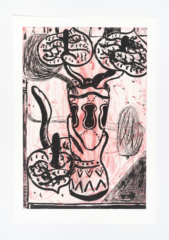 Tal R, 'Blomster uden titel', 2021, Print, Drypoint, sugar lift aquatint, BORCH