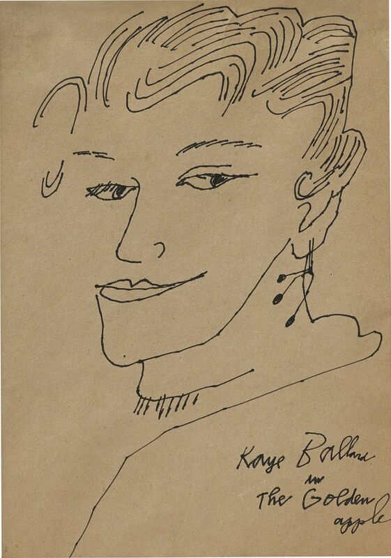 Andy Warhol, 'Kaye Ballard in the Golden Apple', 1957, Drawing, Collage or other Work on Paper, Ink on paper, Phillips