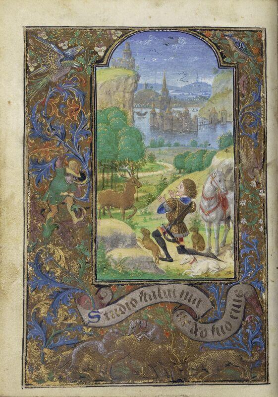 Lievan van Lathem, 'Saint Hubert', 1469, Tempera colors, gold leaf, gold paint, silver paint, and ink on parchment, J. Paul Getty Museum